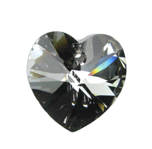 Swarovski 6228 18mm Heart Pendant 18x17.5mm Crystal Silver Night