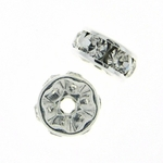 Swarovski 6mm Metal Rondell Silver with Crystal (12pk) out of stock