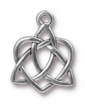 TierraCast Small Celtic Open Heart Drop, Silver Plate *new* (Qty 4)