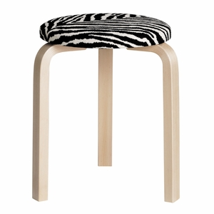Artek Alvar Aalto Stool 60 - Three Legged Stool - Birch Legs with Zebra Upholstered Seat