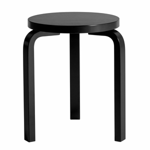 Artek Alvar Aalto Stool 60 - Three Legged Stool - Black Lacquered