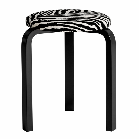 Artek Alvar Aalto Stool 60 - Three Legged Stool - Black Lacquered Legs with Zebra Upholstered Seat