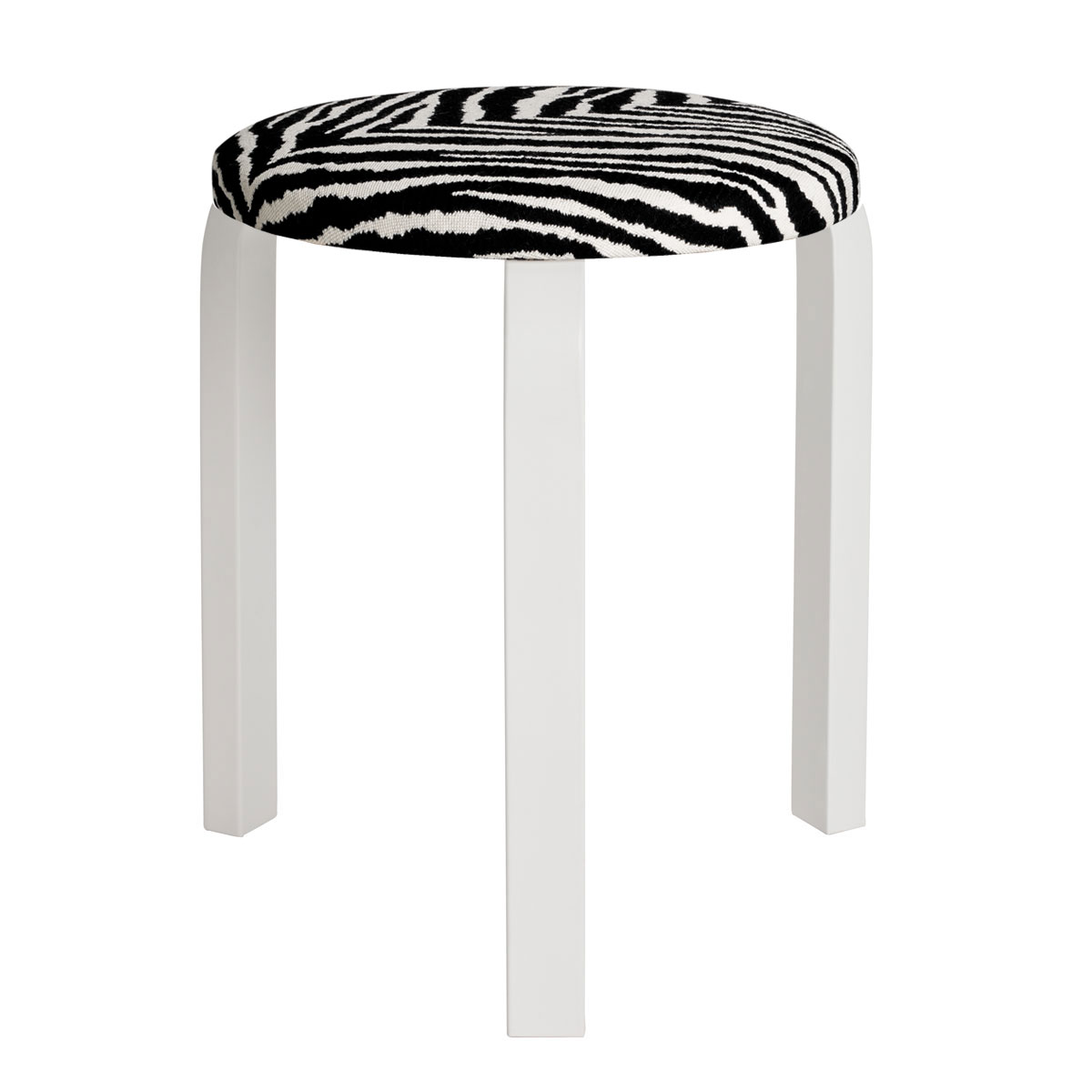 Wondrous Artek Alvar Aalto Stool 60 Three Legged Stool White Lacquered Legs With Zebra Upholstered Seat Creativecarmelina Interior Chair Design Creativecarmelinacom