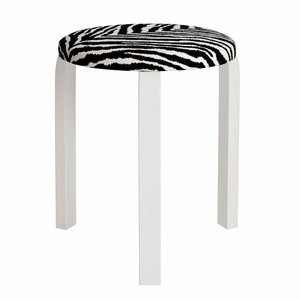 Artek Alvar Aalto Stool 60 - Three Legged Stool - White Lacquered Legs with Zebra Upholstered Seat