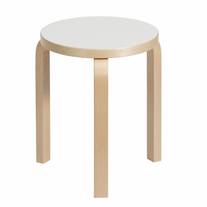 Artek Alvar Aalto Stool 60 - Three Legged Stool - White Laminate