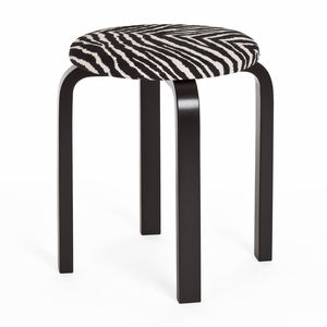 Artek Alvar Aalto Stool E60 - Four Legged Stool - Black Lacquered Legs with Zebra Upholstered Seat