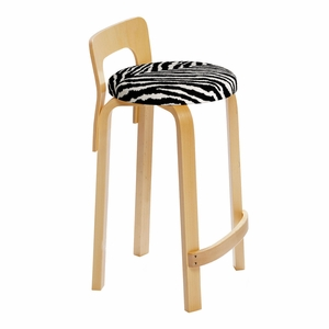 Artek K65 - Low Back Stool - Birch Legs with Upholstered Seat