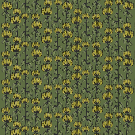 Finlayson Alma Green / Yellow Fabric