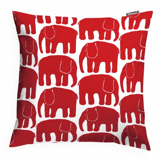 Finlayson Elefantti Red Throw Pillow