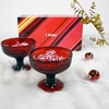 iittala Kastehelmi Cranberry Footed Bowls (Gift Set of 2)