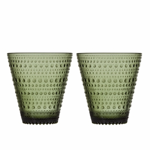 iittala Kastehelmi Moss Green Tumblers - Set of 2
