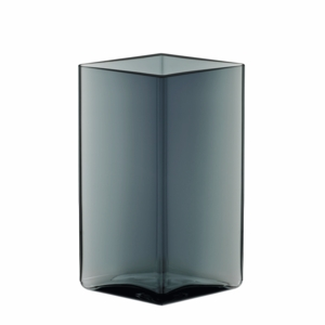 "iittala Ruutu Grey Glass Vase – 7"" x 4-1/2"""
