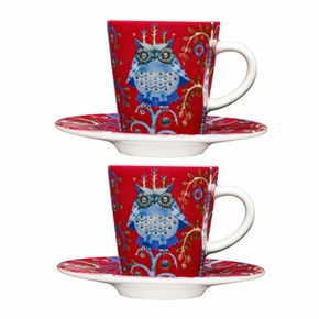 Iittala Taika Red Espresso Cup And Saucer Gift Set