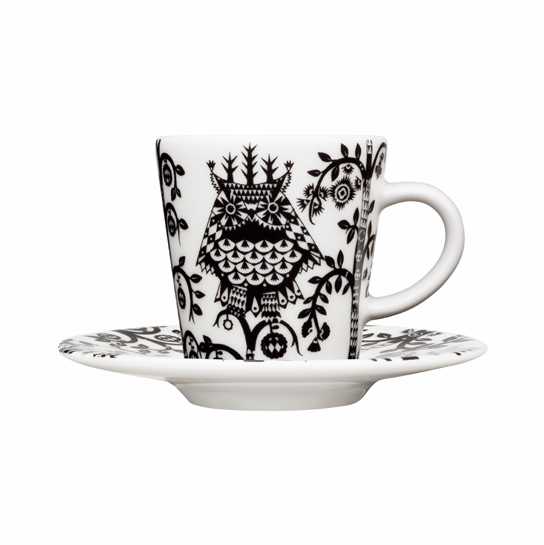 iittala Taika White / Black Espresso Cup and Saucer