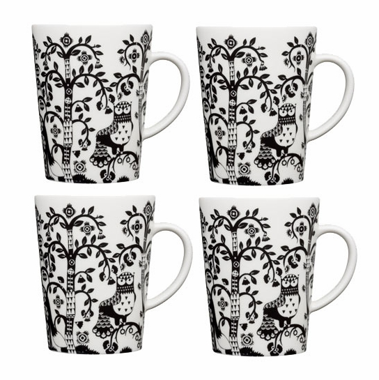 iittala Taika White / Black Mug - Set of 4