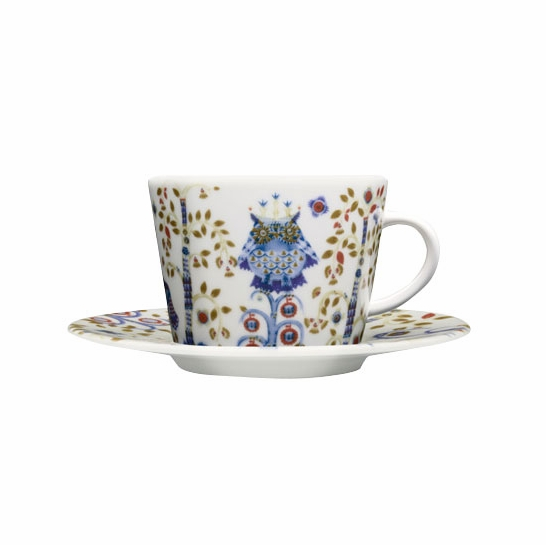 iittala Taika White / Blue Coffee Cup and Saucer