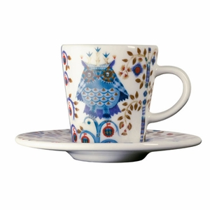 iittala Taika White / Blue Espresso Cup and Saucer
