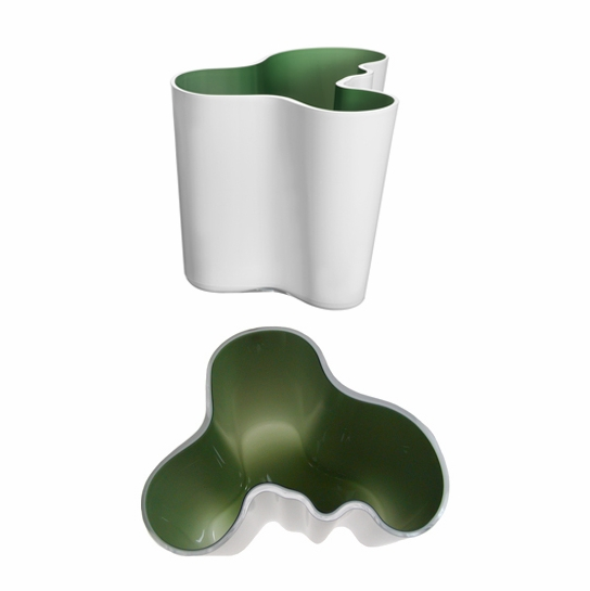iittala White and Green Cased Aalto Vase - 6-1/4""