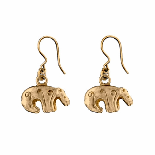 Kalevala Bear Bronze Hook Earrings