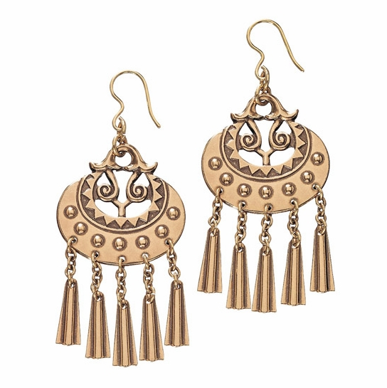 Kalevala Moon Goddess Bronze Earrings - Large