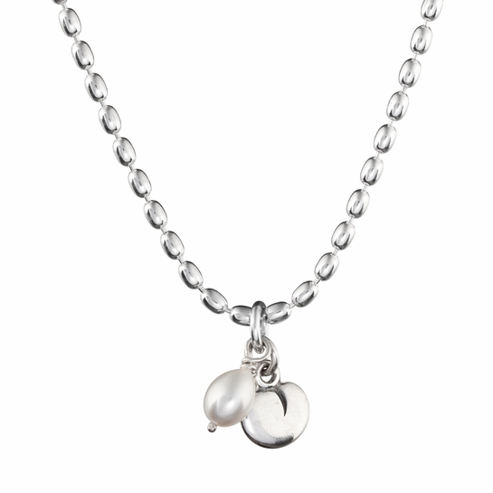 Kalevala Twinflower White Pearl Silver Pendant Necklace