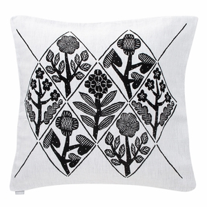 Lapuan Kankurit Kukat Black Throw Pillow