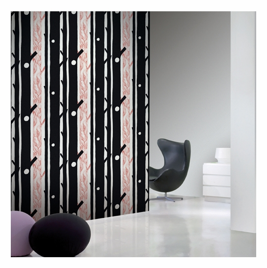 Marimekko Aarni Black/Red Wallpaper