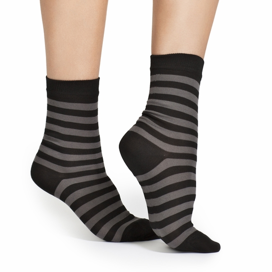 Marimekko Black/Grey Striped Sock