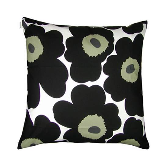 Marimekko Black Pieni Unikko Large Throw Pillow
