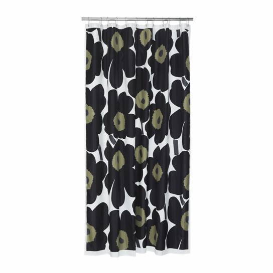 Marimekko Black Unikko Long Polyester Shower Curtain