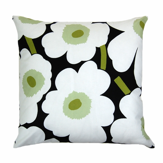 Marimekko Black/White/Green Pieni Unikko Throw Pillow