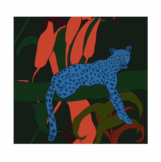 Marimekko Blue Cheetah Fabric Repeat