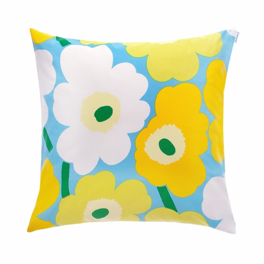 Marimekko Blue/Green/Yellow Pieni Unikko Throw Pillow