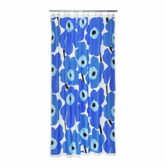 Marimekko Blue Unikko Long Polyester Shower Curtain