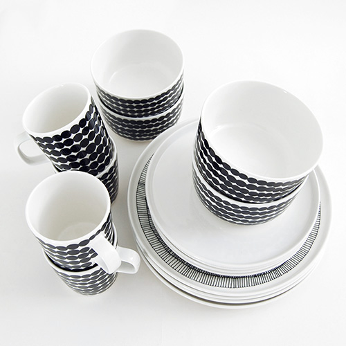 Marimekko Black / White 16pc Dinnerware Set & Marimekko Black / White 16pc Dinnerware Set - Marimekko Kitchen ...