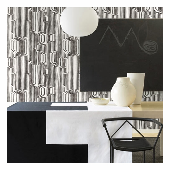 Marimekko Frekvenssi Black & White Wallpaper