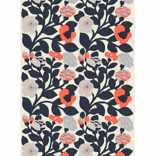 Marimekko Green Green Dark Blue / Coral Cotton Fabric