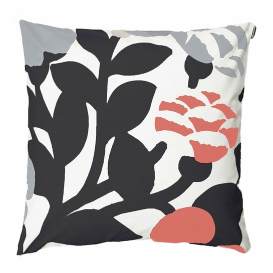 Marimekko Green Green Throw Pillow in White / Grey / Coral
