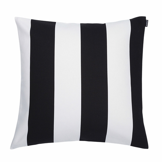Marimekko Juhlaraita Black/White Heavyweight Large Throw Pillow
