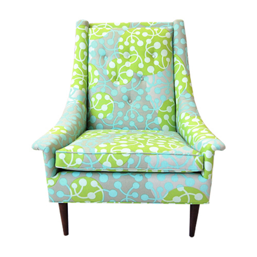 Modern Chairs Top 5 Luxury Fabric Brands Exhibiting At: Marimekko Kirsikka Blue/Green Upholstery Fabric