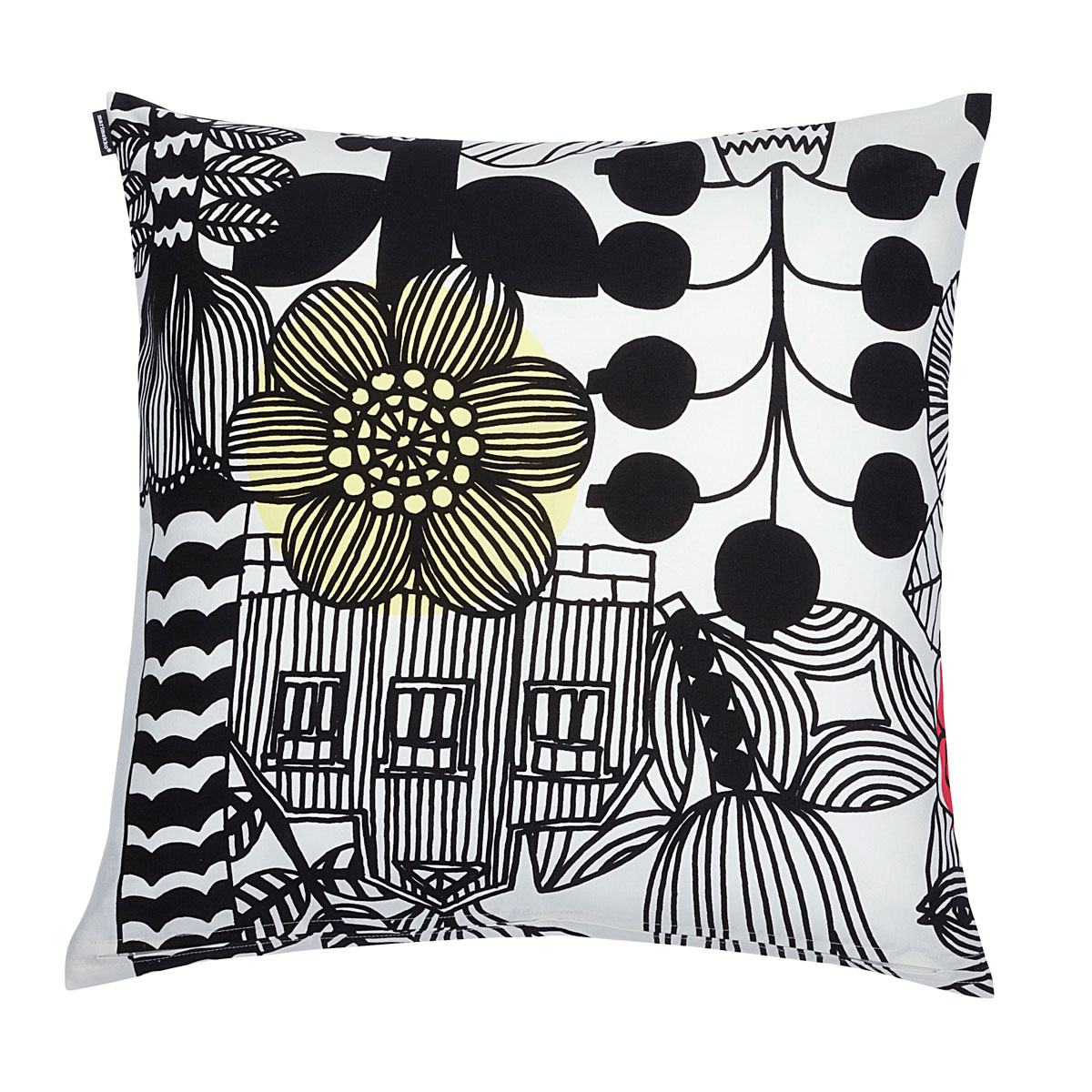 Marimekko Lintukoto White/Black Throw Pillow