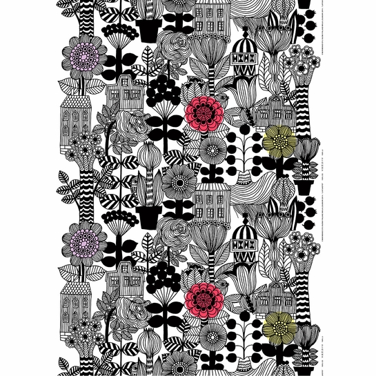 Marimekko Lintukoto White / Black / Yellow Fabric