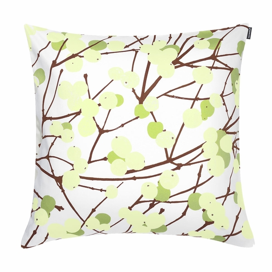 Marimekko Lumimarja White/Green Throw Pillow