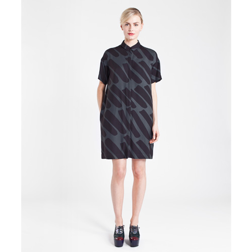 Marimekko mezzo grey black shirt dress marimekko dresses for Dark grey shirt dress