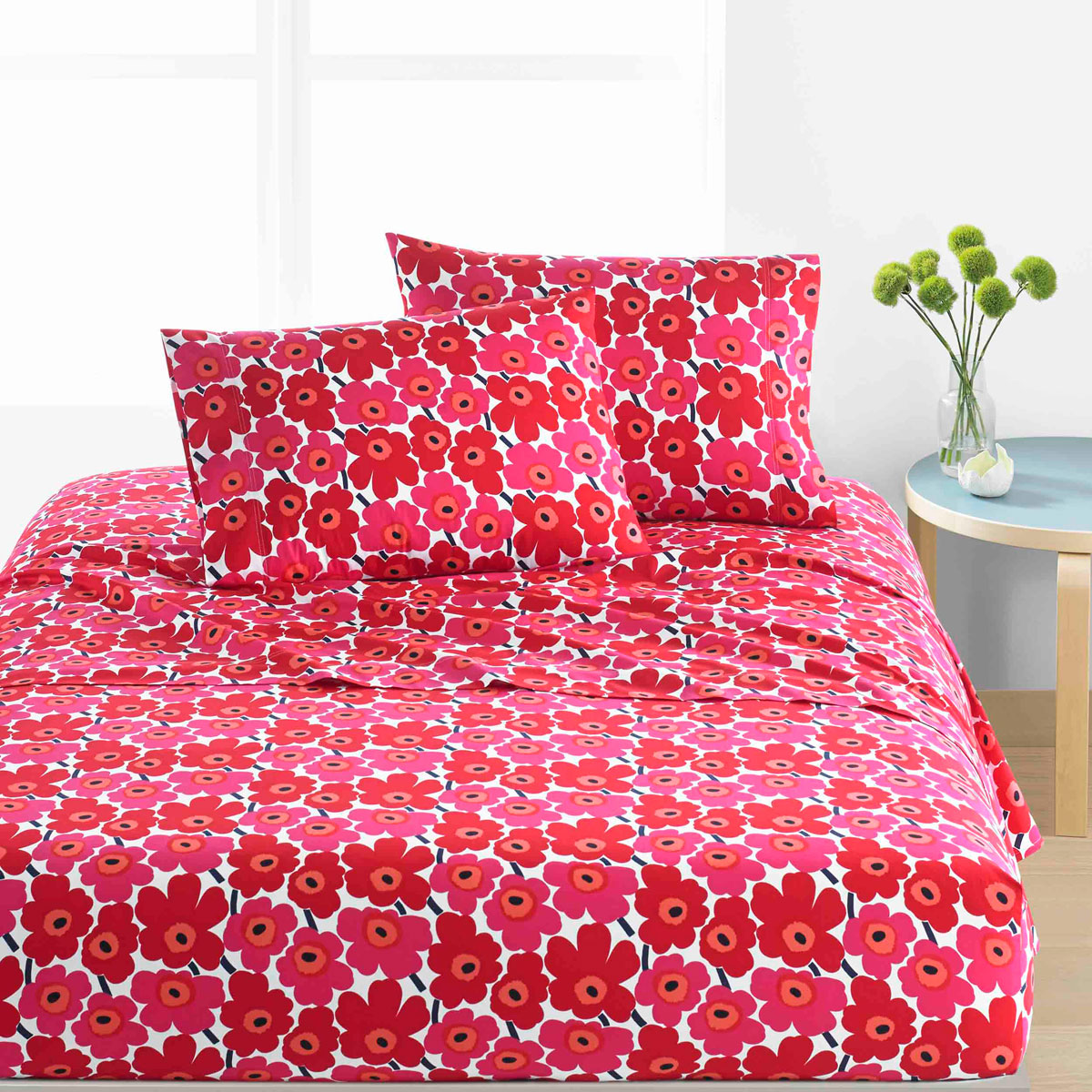 Marimekko Mini Unikko Red King Sheet Set Marimekko Pillowcases Sheet Sets