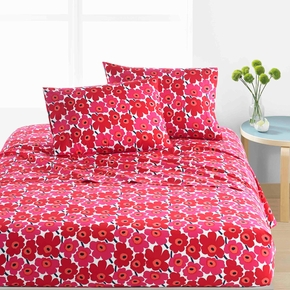 Marimekko Mini Unikko Red Queen Sheet Set