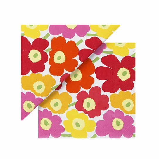 Marimekko Mini Unikko Yellow/Orange/Pink Lunch Napkins
