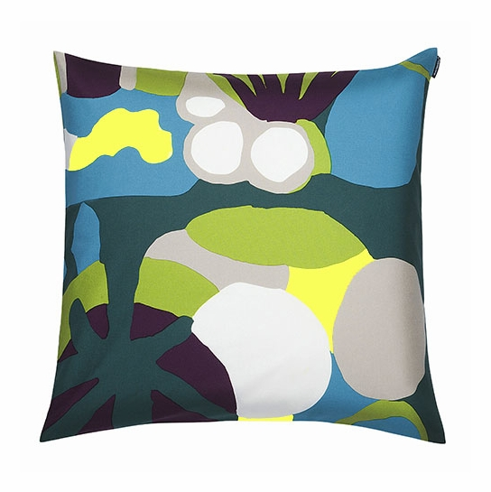Marimekko Neppari Blue/Green/Yellow Throw Pillow - Marimekko Throw Pillows & Blankets