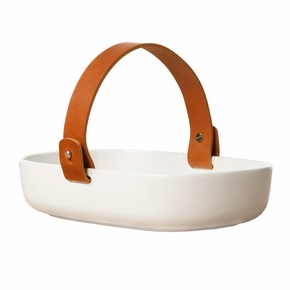 Marimekko Oiva Koppa Serving Dish w/ Leather Handle