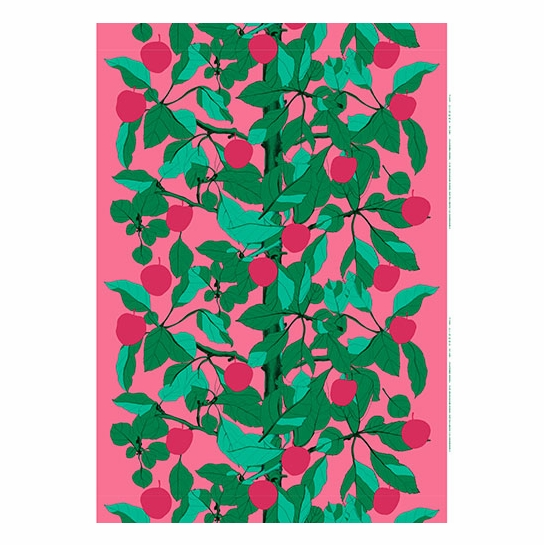 Marimekko Onnen Omenapuu Pink Green Fabric End Of Season